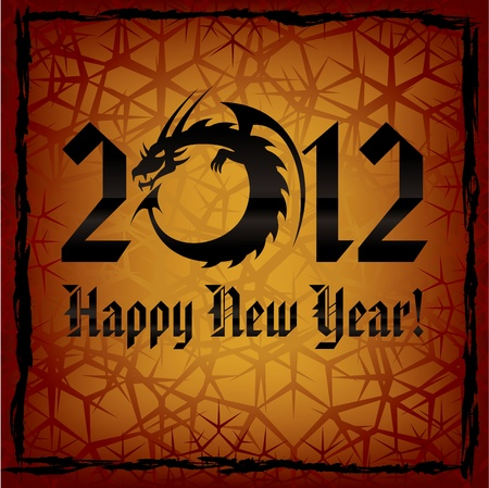Black Dragon. 2012 New Year Card.  Vector