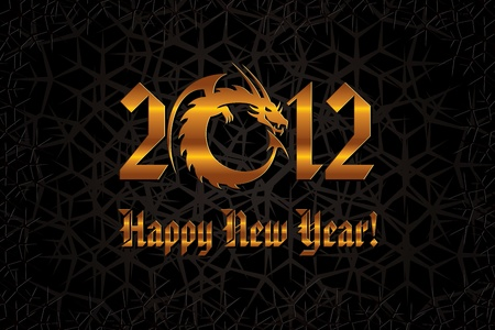 Gold Dragon. 2012 New Year Card.  Vector