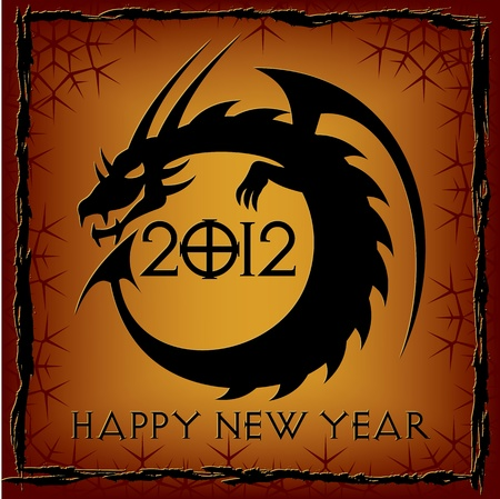 Black Dragon. 2012 New Year Card. Vector