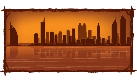 Dubai skyline with reflection in water Vector