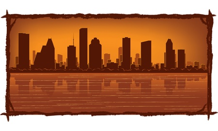 Houston skyline with reflection in water Stock Vector - 11938837