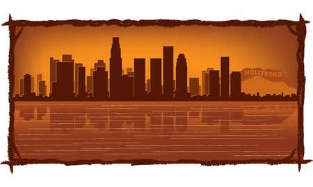angeles: Los Angeles skyline with reflection in water Illustration