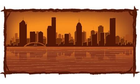 melbourne australia: Melbourne Australia skyline with reflection in water