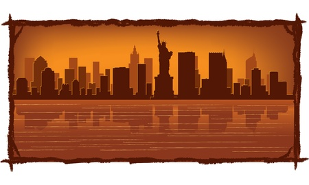 skyscraper sky: New York skyline with reflection in water Illustration