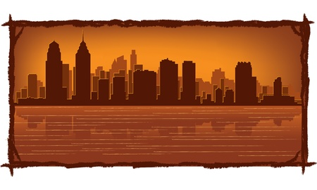 Philadelphia skyline with reflection in water Stock Vector - 11938828