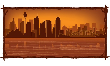 Sydney, Australia skyline illustration with reflection in water Vector