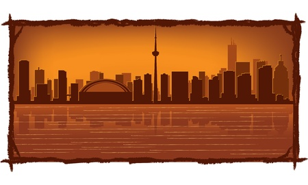 Toronto skyline with reflection in water Vector
