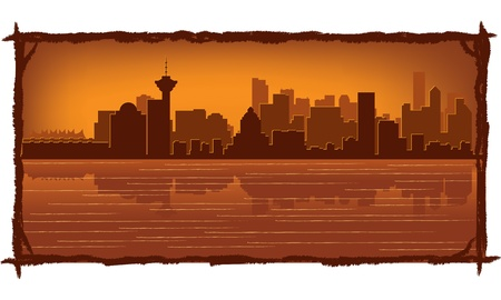 vancouver city: Vancouver skyline with reflection in water Illustration