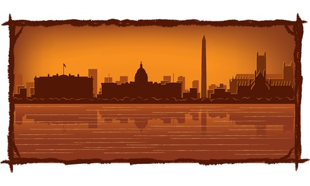 Washington skyline with reflection in water Stock Vector - 11938841