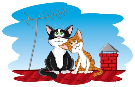 roof light: Cats on the roof Illustration