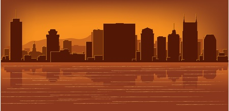 sky scraper: Nashville, Tennessee skyline with reflection in water Illustration