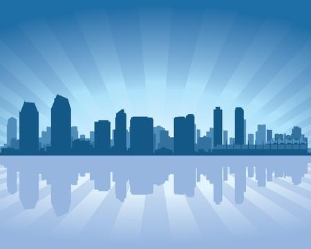 san diego: San Diego skyline with reflection in water