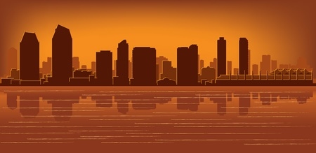 San Diego skyline with reflection in water Vector