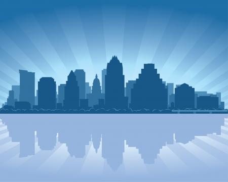Austin, Texas skyline met reflectie in het water