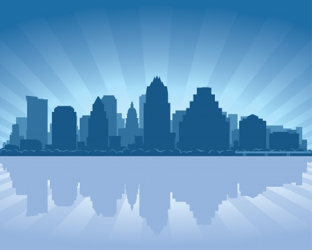 austin: Austin, Texas skyline  with reflection in water Illustration