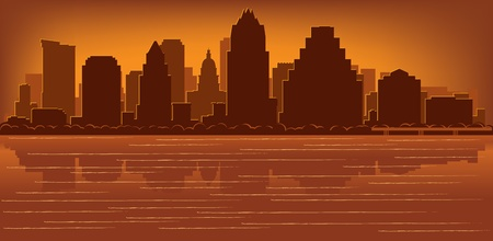 Austin, Texas skyline with reflection in water Vector
