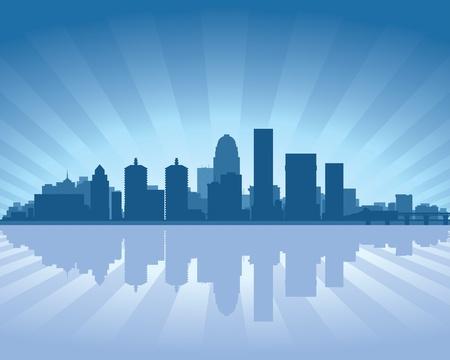 louisville: Louisville, Kentucky skyline with reflection in water Illustration