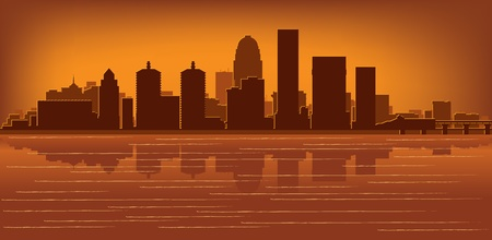 kentucky: Louisville, Kentucky skyline with reflection in water Illustration