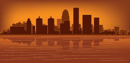 Louisville, Kentucky skyline with reflection in water Illustration