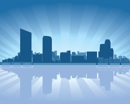 Grand Rapids, Michigan skyline with reflection in water Vector