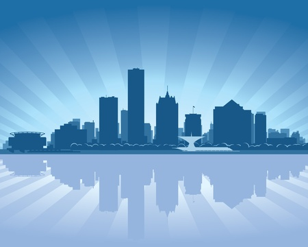 lake shore: Milwaukee, Wisconsin skyline with reflection in water Illustration