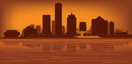 milwaukee: Milwaukee, Wisconsin skyline with reflection in water Illustration