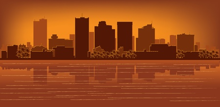 Phoenix, Arizona, con el horizonte de la reflexión en el agua