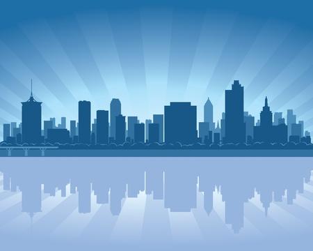 oklahoma: Tulsa, Oklahoma skyline with reflection in water