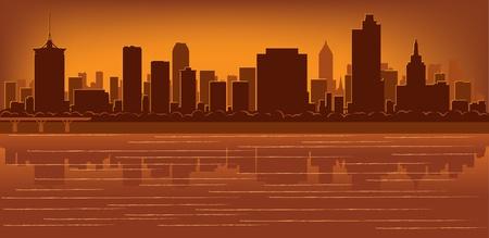 Tulsa, Oklahoma Skyline mit Reflexion in Wasser