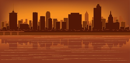 Tulsa, Oklahoma skyline with reflection in water Vector
