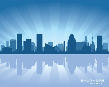 Baltimore, Maryland skyline illustration with reflection in water