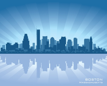 Boston, Massachusetts skyline illustration with reflection in water