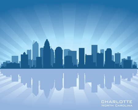 Charlotte, North Carolina skyline illustration with reflection in water