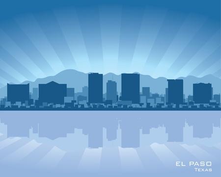 reflejo en el agua: El Paso, Texas ilustraci�n horizonte con reflejo en el agua