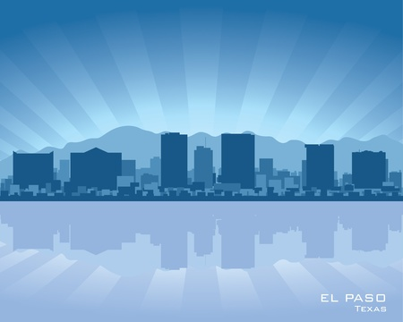 reflection in water: El Paso, Texas skyline illustration with reflection in water