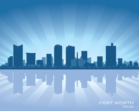 Fort Worth, Texas skyline illustration with reflection in water