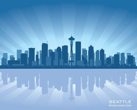 seattle: Seattle, Washington, ilustraci�n horizonte con reflejo en el agua