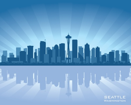 seattle: Seattle, Washington skyline illustration with reflection in water