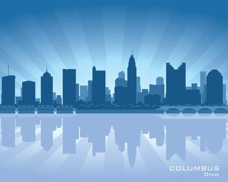 columbus: Columbus, Ohio, la ilustraci�n horizonte con reflejo en el agua