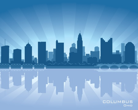 reflection: Columbus, Ohio skyline illustration with reflection in water