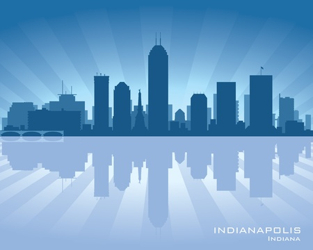 Indianapolis, Indiana skyline illustration with reflection in water Illustration