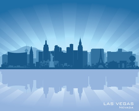 Las Vegas, Nevada skyline illustration with reflection in water Stock Vector - 12496314