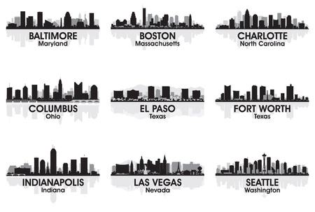 American cities skyline set Stock Vector - 12496689