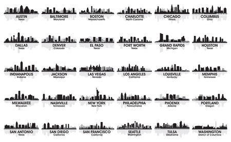 Incredible set of USA city skyline  30 cities   Vector