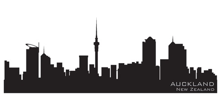 Auckland, New Zealand skyline  Detailed silhouette Vector