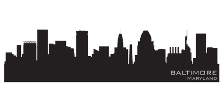 Baltimore, Maryland skyline  Detailed silhouette