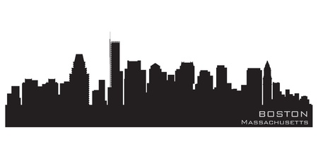 Boston, Massachusetts skyline  Detailed silhouette Vector