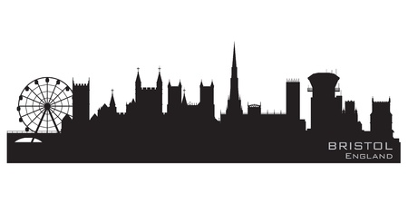 bristol: Bristol, England skyline  Detailed silhouette Illustration