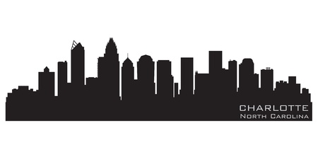 Charlotte, North Carolina skyline  Detailed silhouette Illustration