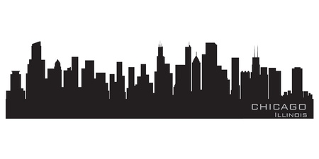 city panorama: Chicago, Illinois skyline  Detailed silhouette